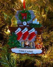 Fireplace With Stockings Family Of 3 Personalized Christmas Tree Ornaments