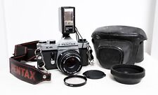 Vintage PENTAX KM 35mm film SLR camera kit with lens, flash & extras