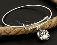 Sterling Silver 925 Expandable Bangle with Angel charm Adjustable Bangle (C112)
