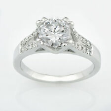 1.70 Ct Vvs1 Round Solitaire Diamond Engagement Ring 14K Solid White Gold Rings