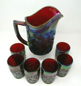 Imperial Robin Dark Ruby Red Carnival Glass Pitcher & 6 Tumblers Water Set Wow!