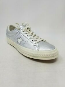 A83 Converse Unisex One Star OX Sneakers, Silver, Size 7.5 (WO 9.5)