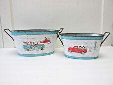 Red Pickup Metal Buckets Set of 2 Farm Truck Blue Containers Planters Farmhouse