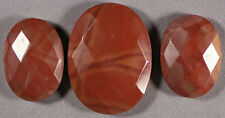 3 (THREE) MATCHED MOOKITE MOOKAITE MOUKAITE JASPER FACETED OVAL CABOCHONS