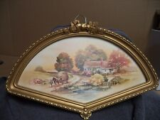 """Vintage Home Interiors """"Country Autumn Scene"""" Print in Fan Shaped Frame"""