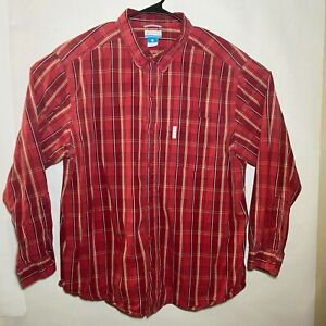 Columbia Mens Non Iron LS Button Up Red Yellow Plaid Shirt