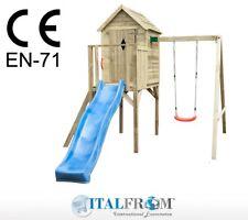 Altalena con Scivolo e Torre Giochi per Bambini in Legno ITALFROMBABY7PLUS
