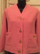 CHANEL 36 Sz 4 6 Boucle PINK Tweed 6 Gold CC Button 1997 Vintage Dress Coat 97P