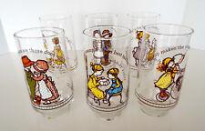Holly Hobbie Glasses Vintage Set of 6 Coca Cola Limited Edition Estate Lot