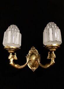 single  Art Deco bronze wall lights w/ MERMAID SCULPTURES Hand made