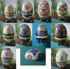 Ceramic Footed Limoges And Other Eggs Gold Color Flowers Pick 1