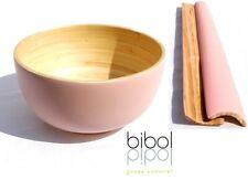 Bibol Bambú Cuenco XL 28 cm 6L + Cubiertos para Ensalada Rosa Hecho Sostenible