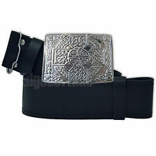 GENUINE REAL LEATHER SCOTTISH KILT BELT & CHROME CELTIC BUCKLE 30-48 INCHES (A)
