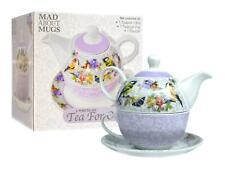 Tea For One Set Teapot Saucer Cup Tea Coffee Floral Birds Lilac White Porcelain
