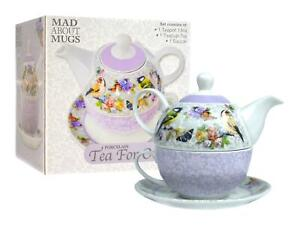 Tea For One Set Teapot Saucer Cup Tea Coffee Floral Birds Lilac White Porcelain