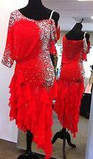 U5486 Red hot ballroom women salsa chacha Latin samba dance dress Custom made