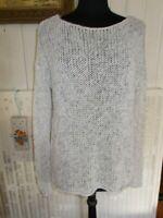 Pull maille long ajouré blanc tacheté gris ABERCROMBIE & FITCH XS/S 34/36