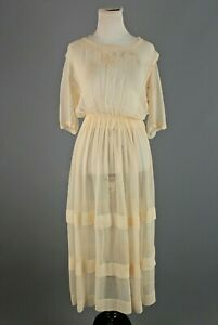 VTG Women's Teens Cream Sheer Silk Lawn / Tea Dress Sz XS #3582 1910s