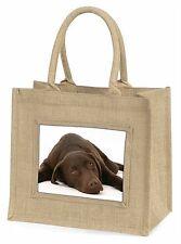 Chocolate Labrador Dog Large Natural Jute Shopping Bag Christmas Gift, AD-L54BLN