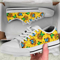 Sunflower Butterfly Lover Women's Low Top Shoes - Custom Canvas Shoes