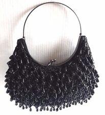 WOMEN'S ALL AROUND BEADED EVENING BAG HANDBAG W/ METAL HANDLE #ES115 #BLACK