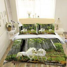 3D Forest Creek Stone Unicorn Kep9303 Bed Pillowcases Quilt Duvet Cover Kay