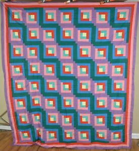 COLORFUL Vintage 30's Straight Furrows Log Cabin Antique Quilt Top ~MINT COND.!