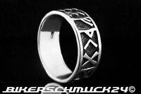 Runenring 925 Sterling Silber Wikinger Germanen Runen Futark Ring Herren Schmuck