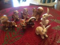 Seven Vintage Miniature Ceramic/Porcelain/Bone China Forest Animals of N.America