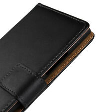 For Nokia Lumia 730 Black Genuine Leather Business Wallet Card Case Cover Stand