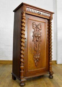 Antique rustic carved spiral barley twist side cabinet / linen cupboard