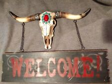 Mosaic Turquoise Molded Longhorn Skull Welcome Sign Sculpture Decor