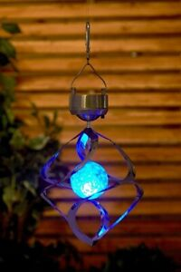 Garden Outdoor Solar Crystal Colour Changing Wind Spinner