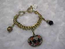 """HEIDI DAUS Autumn/Halloween """"Toggle-Style Bracelet"""" (With 3 Charms Included)"""