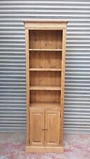 solid pine bookcase shelf with doors and storage cupboard/made to measure