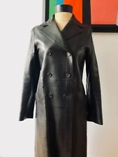 Vintage Prada Dark Brown Leather Coat sz 40 Italy