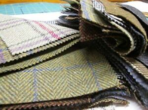 """Tweed Patchwork 100% Wool Remnant Offcuts Squares 10 Pieces 23cm (9"""")"""
