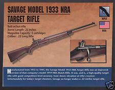 SAVAGE MODEL 1933 NRA TARGET RIFLE Atlas Classic Firearms Gun PHOTO CARD