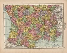 Carte de 1924 ~ france southern section ~ dordogne loire seux vienne sud vendée etc