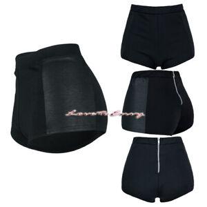 Black Hot Pants Plain Stretchy Petite Side Wet Look Club Wear Mini Summer Shorts