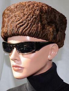 Hut Pelz Breitschwanz Persianer Vintage Lammfell Mütze Fur Hat Kupfer Braun