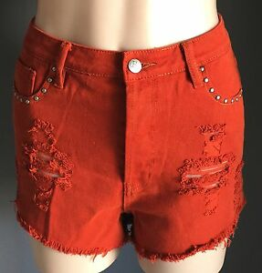 EVIL TWIN Denim Shorts Size M 10 Deep Orange Denim Distressed & Frayed NWOT