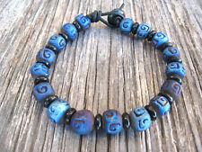 Men's Unisex Blue Raku Ceramic Beads Leather Wrap Beaded Bracelet Handmade