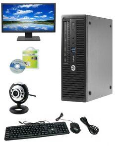 "HP ProDesk 400G3 SFF Desktop i5-6400 8GB 256GB SSD Windows 10 Pro Webcam 22"" LCD"