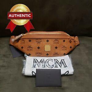 NEW Authentic MCM Fursten Belt Bag in Visetos Fanny Pack SMALL / Cognac
