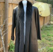 Leather trench coat with fur trim