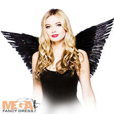 77e6d47d3085 Black Feather Dark Angel Wings Ladies Fancy Dress Halloween Womens Costume  Wings