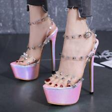 Womens Fashion Peep Toe Rivet PVC Transparent Sandals Platform High Heels Shoes
