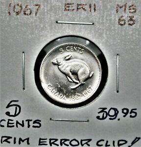 Rim Error - 1967 Canada 5 Cents
