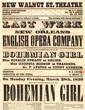 *WALNUT STREET THEATRE 1859 BROADSIDE BOHEMIAN GIRL ENGLISH OPERA COMPANY*